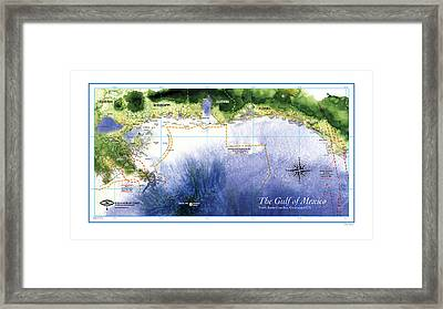 Map Of The Gulf Of Mexico Northern Coast Framed Print by Paul Gaj