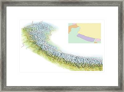 Map Of The Himalayas Framed Print by Gary Hincks