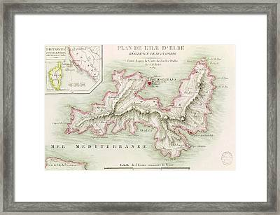 Map Of The Island Of Elba Framed Print by Baron Louis Albert Bacler d'Albe