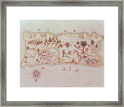Map Of The Island Of Puerto Rico Framed Print