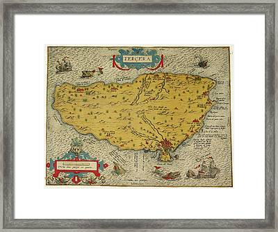 Map Of The Island Of Tercera Framed Print by British Library