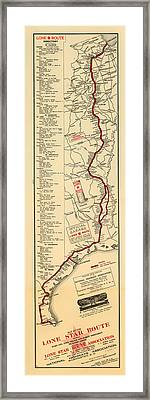 Map Of The Lone Star Route 1922 Framed Print by Mountain Dreams