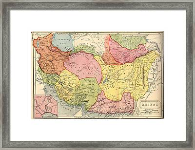 Map Of The Middle East 1907 Framed Print by Mountain Dreams