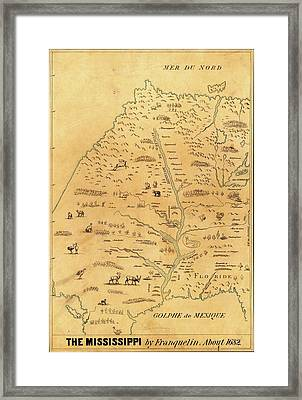 Map Of The Mississippi River Framed Print by Library Of Congress, Geography And Map Division