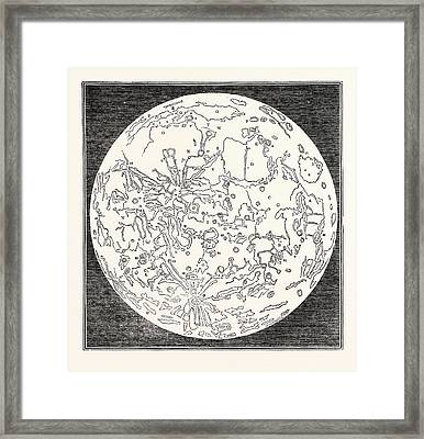 Map Of The Moon 1833 Framed Print by English School