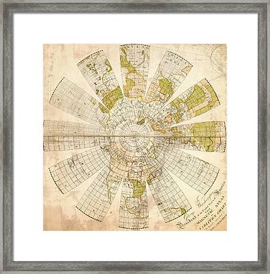 Map Of The Northern Hemisphere Framed Print
