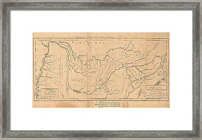 Map Of The Tennassee Government Formerly Part Of North Carolina  Framed Print by Cody Cookston