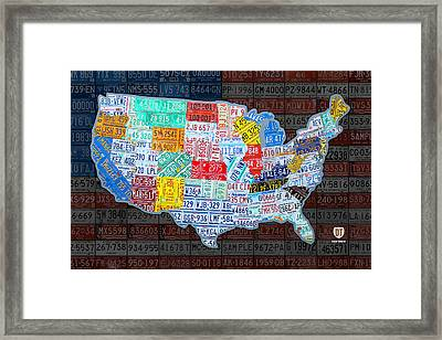 Map Of The United States In Vintage License Plates On American Flag Framed Print