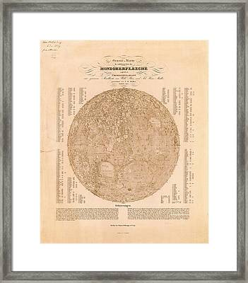 Map Of The Visible Side Of The Moon Framed Print by American Philosophical Society