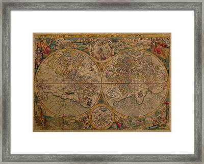 Map Of The World 1599 Vintage Ancient Map On Worn Parchment Framed Print
