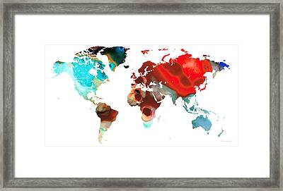 Map Of The World 5 -colorful Abstract Art Framed Print by Sharon Cummings