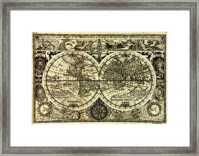 Map Of The World Antique Reproduction Framed Print by Inspired Nature Photography Fine Art Photography