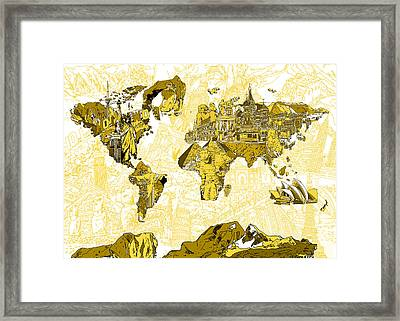 Map Of The World Collage  Framed Print by Bekim Art
