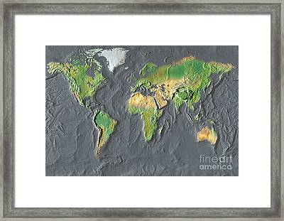 Map Of The World In Relief Framed Print