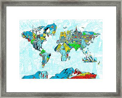 Map Of The World Landmark Collage 2 Framed Print by Bekim Art