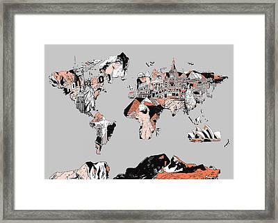 Map Of The World Landmark Collage Framed Print by Bekim Art