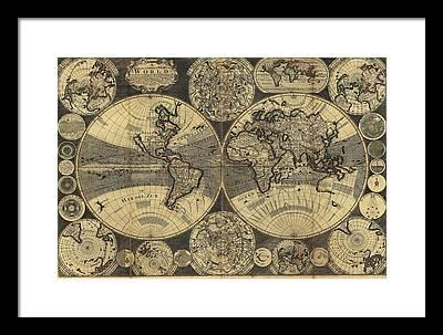 Ptolemy World Map Framed Art Prints Fine Art America