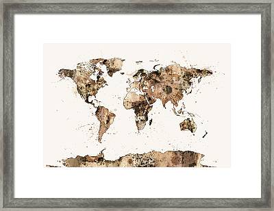 Map Of The World Map Sepia Watercolor Framed Print by Michael Tompsett