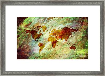 Framed Print featuring the digital art Map Of The World by Mohamed Elkhamisy