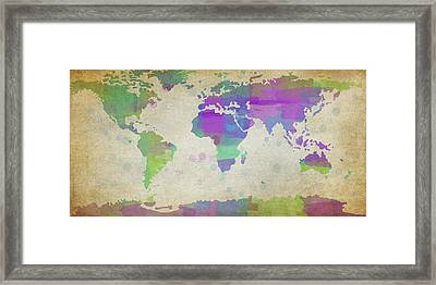 Map Of The World - Plaid Watercolor Splatter Framed Print by Paulette B Wright