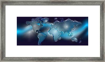 Map Of The World With Blue Trail Framed Print by Panoramic Images