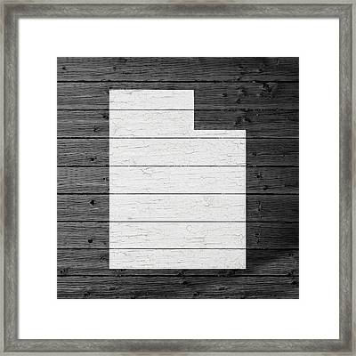 Map Of Utah State Outline White Distressed Paint On Reclaimed Wood Planks Framed Print