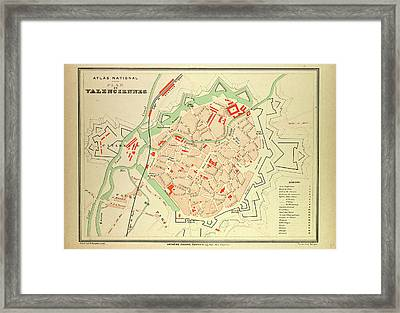 Map Of Valenciennes France Framed Print by French School