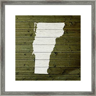 Map Of Vermont State Outline White Distressed Paint On Reclaimed Wood Planks Framed Print