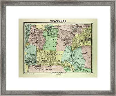 Map Of Vincennes France Framed Print by French School