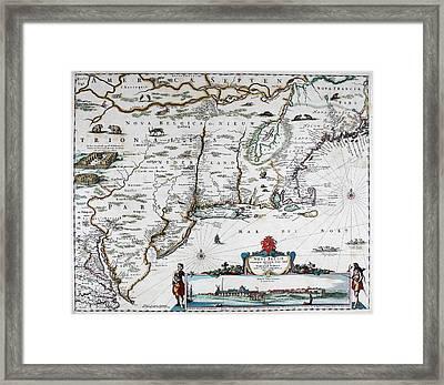 Map Of Virginia - 1665 Framed Print