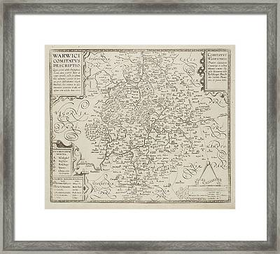 Map Of Warwickshire And Warwick Framed Print by British Library