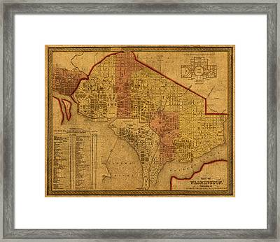 Map Of Washington Dc In 1850 Vintage Old Cartography On Worn Distressed Canvas Framed Print by Design Turnpike