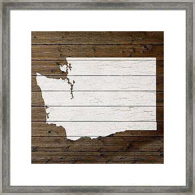 Map Of Washington State Outline White Distressed Paint On Reclaimed Wood Planks Framed Print