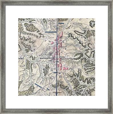 Map Of Williamsburg In Virginia. The Framed Print by Everett