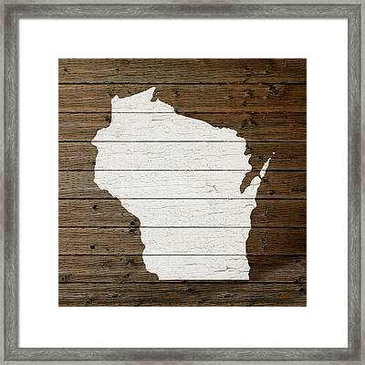 Map Of Wisconsin State Outline White Distressed Paint On Reclaimed Wood Planks Framed Print