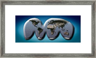 Map Of World From Goodes Homolosine Framed Print by Panoramic Images