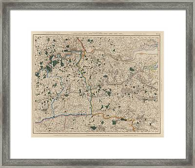 Map Showing Surrey And Kent Framed Print by British Library