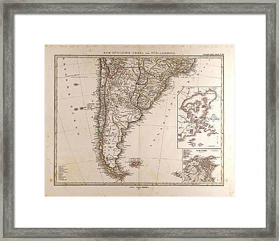 Map South America 1872 Gotha Justus Perthes 1872 Atlas Framed Print