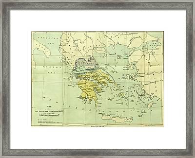Map, The War Of Greek Independence, 1821 To 1833 Framed Print by Litz Collection