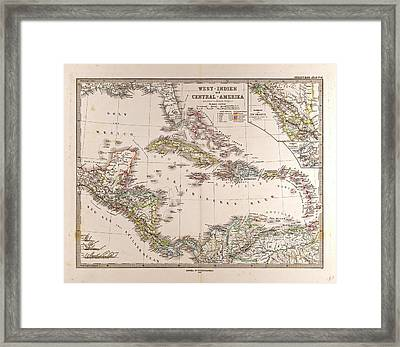 Map West Indies And Central America Gotha Justus Perthes Framed Print