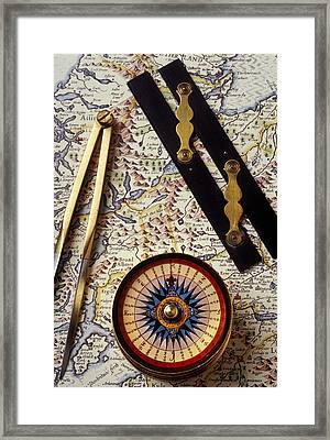 Map With Compass Tools Framed Print by Garry Gay