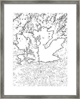Maple Leaf Black Lines Framed Print by R Muirhead Art