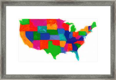 Maps Of Usa With States Modern Watercolor Framed Print by Celestial Images