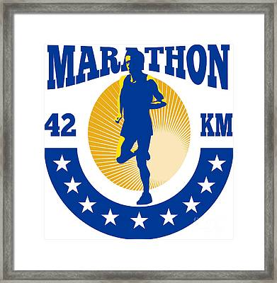 Marathon Runner Athlete Running Framed Print by Aloysius Patrimonio