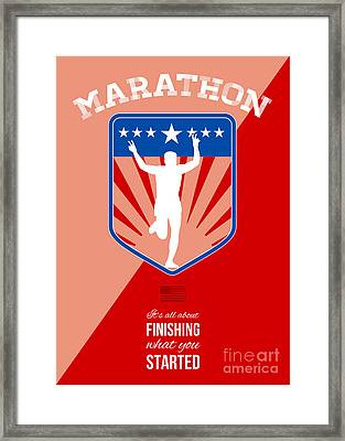 Marathon Runner Finish Run Poster Framed Print by Aloysius Patrimonio