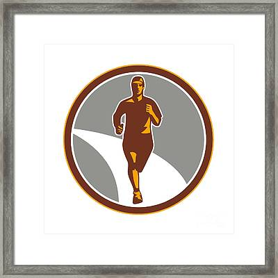 Marathon Runner Front Circle Retro Framed Print by Aloysius Patrimonio