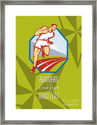 Marathon Runner Race Track Retro Poster Framed Print by Aloysius Patrimonio