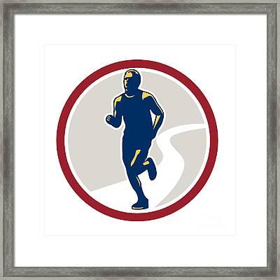 Marathon Runner Running Circle Retro Framed Print by Aloysius Patrimonio