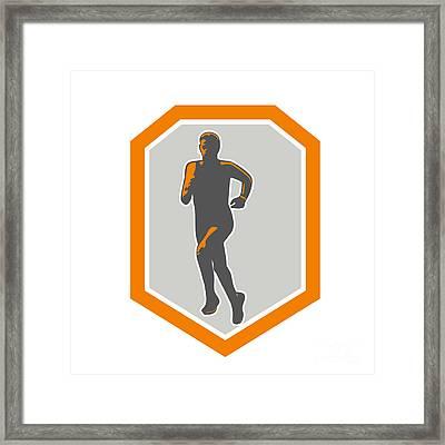 Marathon Runner Running Front Shield Retro Framed Print