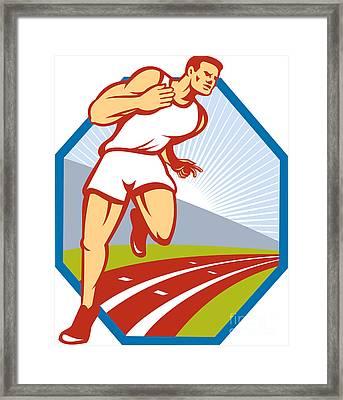 Marathon Runner Running Race Track Retro Framed Print by Aloysius Patrimonio